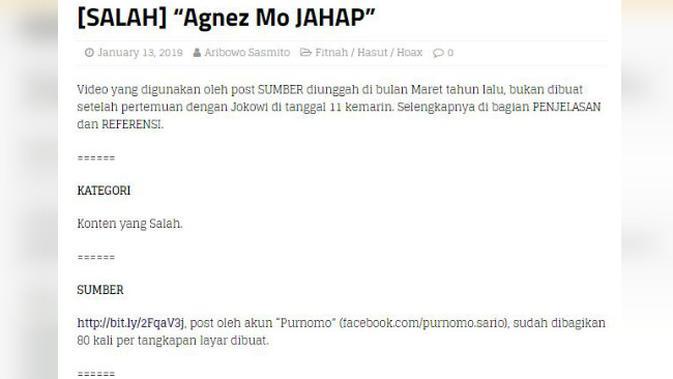 [Cek Fakta] Usai Bertemu Jokowi, Agnez Mo Malah Acungkan Dua Jari?