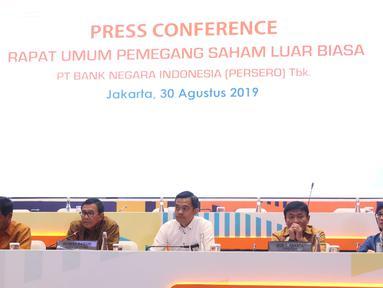 Suasana Rapat Umum Pemegang Saham Luar Biasa (RUPSLB) BNI di Jakarta, Jumat (30/8/2019). Rapat tersebut membahas dua agenda yaitu Evaluasi/ Pemaparan Kinerja Perseroan sampai dengan Semester I Tahun 2019. (Liputan6.com/Angga Yuniar)