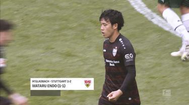 Berita video 5 gol terbaik yang tercipta pada pekan ke-33 Bundesliga 2020/2021, di mana salah satunya torehan fantastis pemain Stuttgart asal Jepang, Wataru Endo.