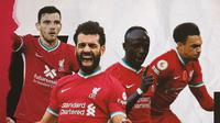 Andrew Robertson, Mohamed Salah, Trent Alexander-Arnold dan Sadio Mane. (Bola.com/Dody Iryawan)