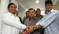 Wapres Jusuf Kalla menerima kedatangan pasangan bakal capres-cawapres Prabowo Subianto dan Sandiaga Uno. (Merdeka.com/Intan Umbari Prihatin)