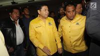 Ketua Umum DPP Golkar Setya Novanto saat tiba di Gedung DPP Golkar, Jakarta, Rabu (11/10). Rapat pleno ini dipimpin langsung oleh Setya Novanto setelah dirinya kembali sehat setelah menjalani perawatan di rumah sakit. (Liputan6.com/Johan Tallo)