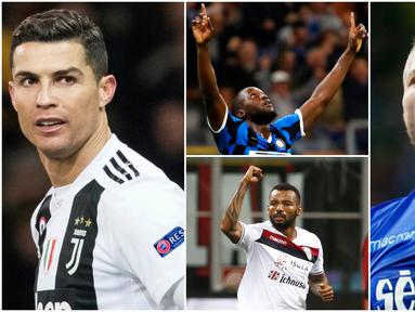 Berikut ini daftar top scorer sementara Serie A 2019. Striker Lazio, Ciro Immobile, menempati urutan pertama sedangkan bintang Juventus, Cristiano Ronaldo tercecer di posisi empat. (Foto Kolase AP dan AFP)
