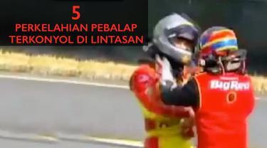 Video perkelahian antar pebalap Nascar, Moto3 dan Speedway terkonyol didalam lintasan.