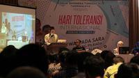 Beberapa pembicara tengah menyampaikan materinya pentingnya menanggalkan isu SARA dalam setiap konstelasi politik, termasuk Pilkada Tasikmalaya, Jawa Barat kali ini. (Liputan6.com/Jayadi Supriadin)
