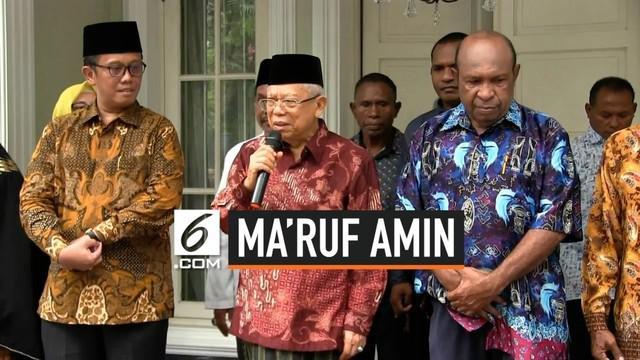 Wakil Presiden terpilih Ma'ruf Amin menggelar pertemuan dengan sejumlah pendeta dari Papua di kediamannya, Menteng, Jakarta, Kamis (5/9/2019).