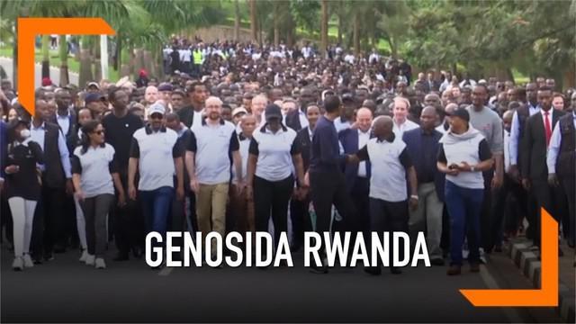 Presiden Rwanda Paul Kagame memimpin peringatan 25 tahun peristiwa pembantaian delapan ratus ribu warga Rwanda dari etnis tutsi dan hutu moderat. Peringatan tersebut dihadiri ribuan warga Rwanda hari Minggu (7/4)