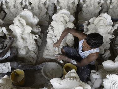 FOTO: Intip Pembuatan Patung Dewa Ganesha di India