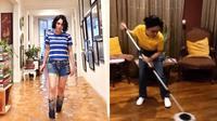 6 Momen Yuni Shara saat Bersihkan Rumah Usai Banjir, Ngepel Lantai (sumber: Instagram.com/yunishara36)