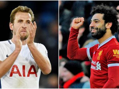 Berikut ini top scorer sementara Premier League musim 2017/2018 hingga pekan ke-29. Mohamed Salah dan Harry Kane sama-sama mengoleksi 24 gol. (Kolase foto-foto AP dan AFP)