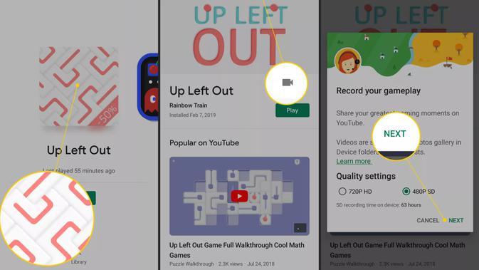 Fitur screen recorder di Google Play Games. (Doc: Lifewire)