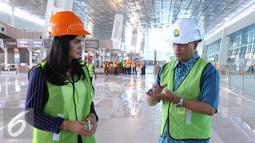 Dirut PT Angkasa Pura II Budi Karya menjelaskan persiapan dan kematangan terminal tersebut yang akan siap dioperasikan dalam waktu dekat ini, Rabu (8/6). (Liputan6.com/Angga Yuniar)