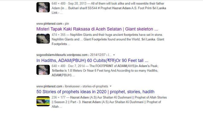 Cek Fakta Liputan6.com menelusuri klaim foto tersebut jejak kaki Nabi Adam
