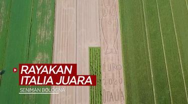 Berita video seorang seniman membuat karya di atas lahan 20 ribu meter persegi untuk merayakan Timnas Italia menjuarai Euro 2020.