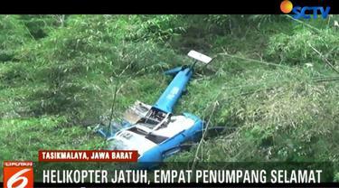 Akibat kecelakaan ini, empat penumpang heli naas tersebut selamat dan segera dievakuasi ke Rumah Sakit SMC Tasikmalaya.