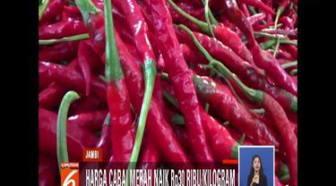 Kenaikan harga dipicu karena kurangnya pasokan cabai merah dari Kabupaten Kerinci.