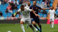 Eden Hazard akhirnya menjalani debutnya bersama Real Madrid pada turnamen resmi, saat bersua Levante dalam laga laga pekan keempat La Liga Spanyol, di Santiago Bernabeu, Sabtu (14/9/2019). (AP Photo/Bernat Armangue)